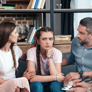 family at a counseling session